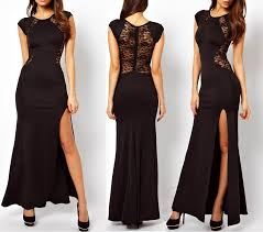 lace see through back slim bodycon split side maxi long party