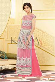 shilpa shetty net stylish salwar kameez in off white and baby pink