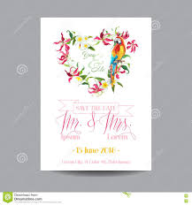 Save The Date Wedding Cards Save The Date Wedding Card Tropical Flowers And Parrot Bird