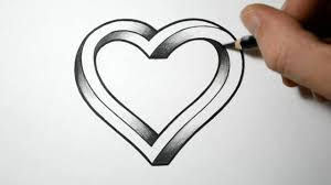 tutorial how to draw 3d heart step by step for beginners video
