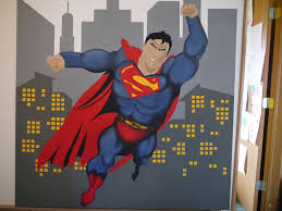 Superman Bedroom Ideas by Super Hero Themed Room Superman Painted On Canvas Mural