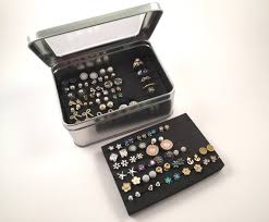organize stud earrings tin jewelry box earring holder layer travel earring