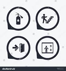 emergency exit icons fire extinguisher sign stock illustration