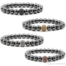 black beaded charm bracelet images Online cheap classic male bracelet inlay zircon elastic cz ball jpg
