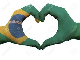 The Flag Of Brazil Gesture Made By Brazil Flag Colored Hands Showing Symbol Of Heart