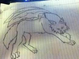 wolf drawing with wings