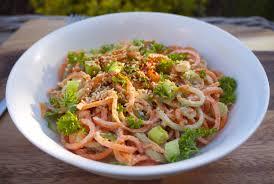 carrot noodle salad with ginger miso dressing rosanna davison