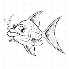 sketch of cartoon fish outline vector clipart image 7046 u2013 rfclipart