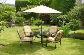 Metal Garden Table Luxury Beige Padded 4 Seater 6 Piece Metal Garden Dining Set