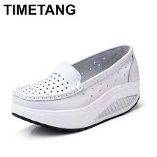 Platform Heels Comfort 2017 Genuine Leather Boat Shoes Comfort Nurse Shoes Wedges