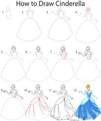 how to draw cinderella step by step disney pinterest