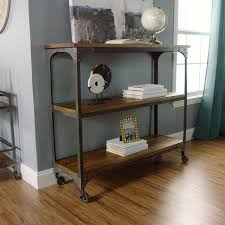 Adjustable Metal Shelves Wood And Metal Aiden 3 Shelf Console Table World Market