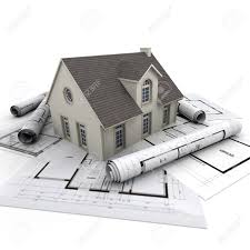 Blue Prints House by House On Top Of Architect Blueprints Stock Photo Picture And