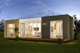 modern shipping container sustainable home with big glass windows