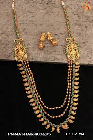 emerald gold necklace images One gram gold necklace set in real temlple ruby and emerald dsep07 jpg