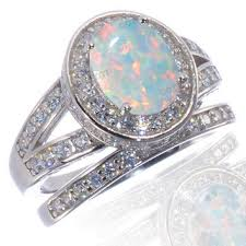 Opal Wedding Ring Sets by Shop Sterling Silver Sapphire Eternity Rings On Wanelo