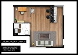 Studio Apartment 3d Floor Plans Utsav Mukherjee Designs Studio Apartment Floor Plan Render