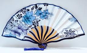japanese folding fan silk fabric japanese fan wedding folding fan white blue