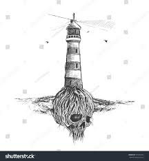 fantastic skull tree roots lighthouse stock vector 574724776