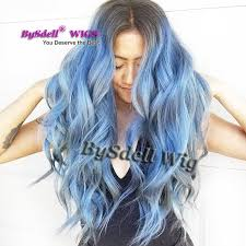 blue ash color gorgeous unicorn mermaid hair wig black rooted ombre ash smoke