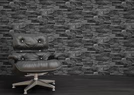 muriva grey charcoal slate 3d effect stone brick wall textured