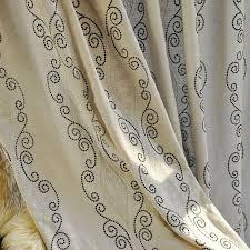 linen cotton beige cool patterned curtains