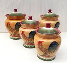 Tuscan Canisters Kitchen by Amazon Com Tuscan Sunshine County Rooster Hand Painted Canisters