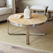 round wood and metal end table sylvine round wood and metal industial coffee table