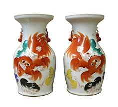 orange foo dogs pair white porcelain orange foo dogs vases