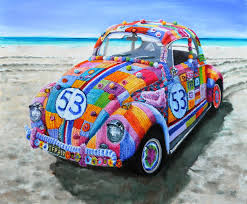 volkswagen beetle classic herbie vera cauwenberghs fine art painter oil painting vw beetle herbie