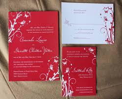 red u0026 white swirly vines with butterflies wedding invitations