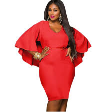 stretch women dresses for chubby girls red butterfly sleeve black