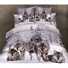 Wolf Bed Sets Alicemall Wolf Bedding 3d Snow Wolf In The Woods Print