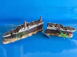 heritage ws021s aquarium fish tank medium titanic boat ship wreck