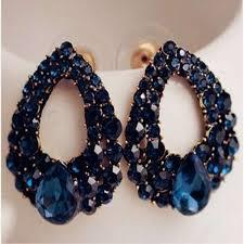 big ear rings 2017 new fashion blue zircon big earrings jewelry earrings