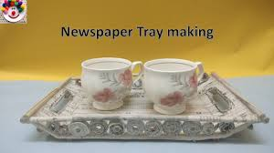 best out of waste ideas how to make tray with news paper diy easy