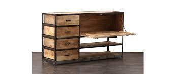 industria solid wood industrial sideboard miliboo