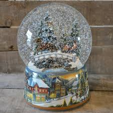 snow globe l post winter sleigh ride christmas musical snow globe no 48040