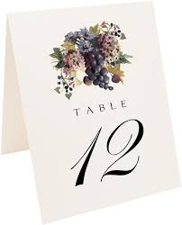 Wedding Table Cards Blue Grapes And Chicory Vineyard Wedding Table Numbers And Table