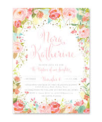dedication invitation willow pink watercolor flowers baptism christening dedication