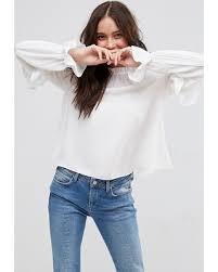 high neck ruffle blouse savings on asos high neck ruffle sleeve blouse white