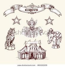 illustration depicting clown circus animals circus stock vector
