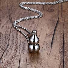silver bottle necklace images Mens necklaces stainless steel naruto gaara gourd pendant necklace jpg