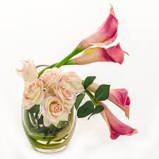 pink calla real touch pink calla lilies roses arrangement flovery