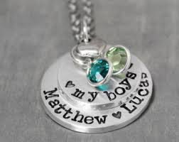 name and birthstone necklace kids name necklace child name necklace stacked heart