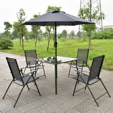 metal patio furniture set 6 pcs outdoor patio square folding furniture set with umbrella