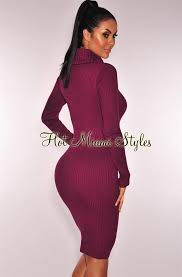 plum ribbed knit cowl neck sleeves sweater dress