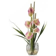 cala lilies nearly liquid illusion silk calla with vase reviews