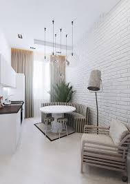 apartments white brick wall apartment banquette seating retro