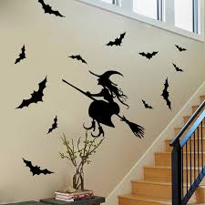 Flying Witch Decoration 1pc Diy Waterproof Happy Halloween Flying Witch Wall Sticker Decal